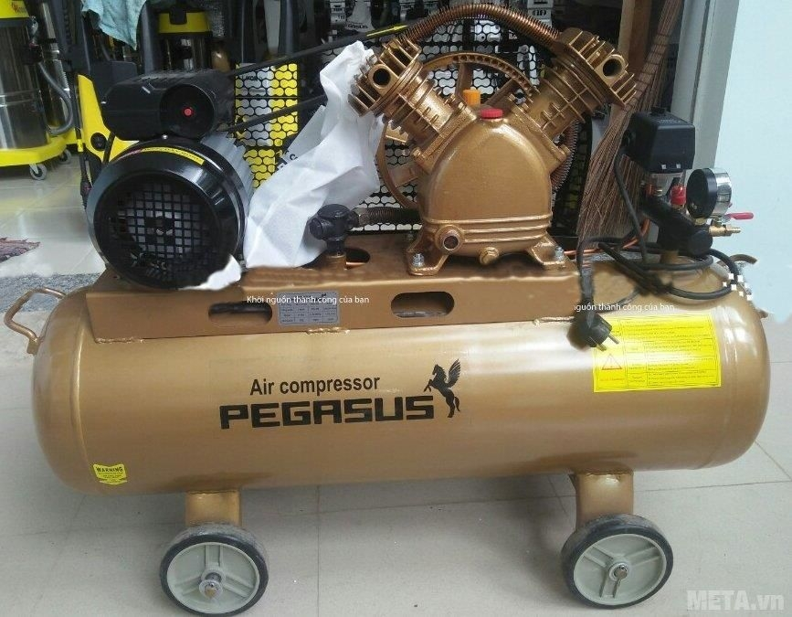 Máy nén khí Pegasus TM-V-0.25/8 (3HP) có bánh xe di chuyển